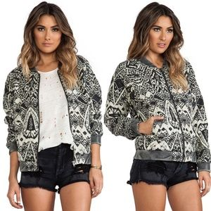 NWT FREE PEOPLE Printed Quilted Bomber Jacket W